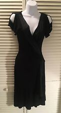 Bebe Women's Black Cold Shoulder Split Sleeve Sexy Flowing Cocktail Dress XS New