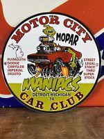 """74 VINTAGE STYLE """"MOPAR MOTOR CITY"""" DEALER SIGN HEAVY PORCELAIN SIGN 12 INCH"""