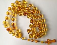 Exclusive Baltic amber honey round beads Christian Rosary (36.3 grams)