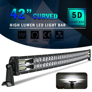 42inch 2560W Curved 5D LED Light Bar Spot Flood Offroad Driving Truck 4WD RZR 40