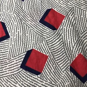 Vintage Feed Sack Fabric Black Tumbling Block  Gray Red 36 X40 Marks 1930's