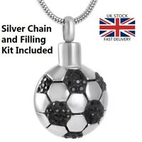 Football Keepsake Cremation Urn Pendant Ashes Silver Necklace Funeral Memorial