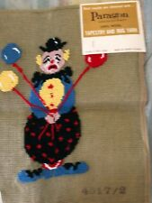 Vintage Clown partly Completed Needlepoint Paragon 100% wool Canary Island