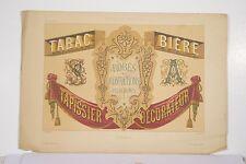 Litho XIX° Peintre en Lettres Attributs Enseignes Magasins Tabac Bière Tapissier