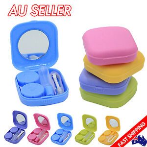 Pocket Plastic Mini Contact Lens Case Kit Outdoor Travel Holder Mirror Container