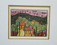 Friedensreich Hundertwasser The Rain Falls Far From Us Matted Offset  Litho 1986