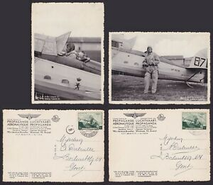 Belgium 1938 Used stamps on couple of Souvenir cards AVIATION Airplanes....A6734