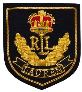 ST (RLL) Ralph Lauren Gold Bullion Wired Military Blazer Badge Hand Embroider