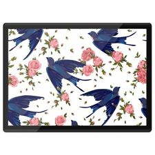 Quickmat Plastic Placemat A3 - Blue Swallow Birds Pink Flowers  #15764