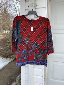 NWT Talbots Gorgeous Red Blue Green Paisley Plaid Merino Wool Sweater 3X 22W 24W