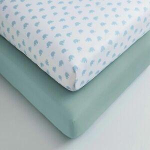Cuddles & Cribs 2 Pack 200 Thread 100% Organic Cotton Fitted Crib Sheet Set