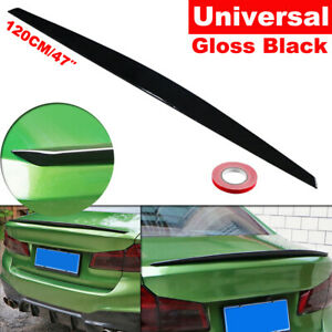 120MM Universal Glossy Black Car Rear Tail Trunk Spoiler Wing Lip Trim Moulding
