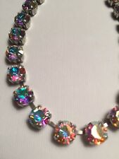 Swarovski Crystals Antique Silver ��Fun Size Necklace/Choker Aurora Borealis