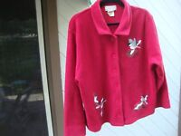 Mandal Bay Terry Winter Birds Holiday Embroidered Red Jacket Size XL