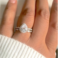 925 Silver Ladies 2 piece Wedding Engagement Teardrop/Pear Cut Halo Ring Set