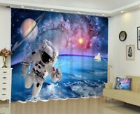 3D Spaceman Greeting Photo Printing Blockout 2Panel Curtain Drapes Fabric Window
