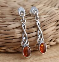 Cognac Baltic Amber 925 Sterling Silver Celtic Design Dangle Drop Earrings
