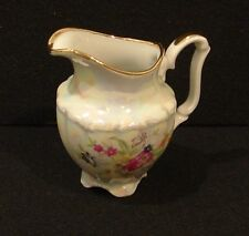 Walbrzych Floral Porcelain Cream Pitcher w/Gold Trim  Made in Poland