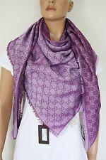 GUCCI Strickschal mit GG Jacquard-Muster 140x140 cm Wolle/Seide lila NEU 281942