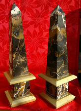 """Pair of Antique Decorative Column Marble Obelisks Natural Viened 14"""" Tall"""