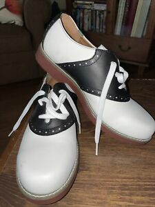 School Issue 6300BKW Womens Black White Lace Up Leather Varsity Shoes Size 9.5 M