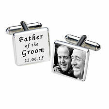 Personalised Silver Plated Engraved Father of the Groom Photo Cufflinks White