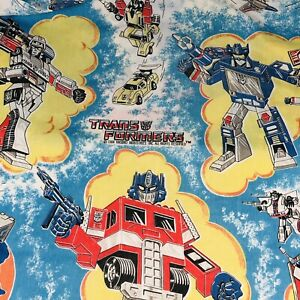 Transformers vintage Fitted Twin Bed Sheet Standard Bottom fabric material 1984