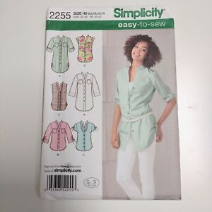 Simplicity 2255 Womens Button Front Shirt Tunic Pattern NEW Uncut 6 - 14 OOP