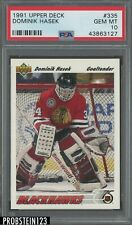 1991 Upper Deck #335 Dominik Hasek Blackhawks RC Rookie PSA 10 GEM MINT