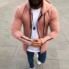 Mens Hoodie Slim Fit Jacket Coat Skinny Sweater Jumper Outwear Zipper Up Tops Sz