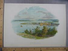 Rare Antique Original VTG Queenstown Harbour Australia Color Litho Art Print