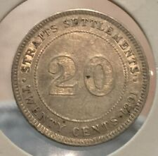 1891 Straits Settlements 20 cent silver coin very high grade scare Year