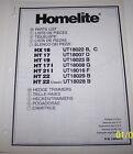 HOMELITE HEDGE TRIMMERS PARTS LIST HX16, HT17, HT19, HT17I, HT21I, HT22