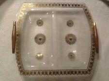 Vintage Georges Briard 2 Section Tray Mid Century Bent Glass Gold Crown Leaf.