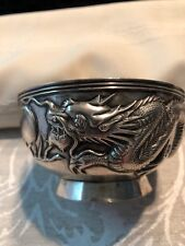 Chinese Export Sterling Silver Dragon Chasing Pearl Bowl