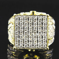 925 Silver Filled Lollipop Big Stone Setting Ring Simulated Lab Diamond Mens