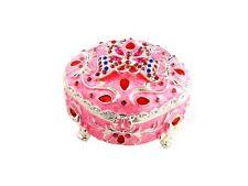 Pink Rhinestone & Metal Butterfly Jewelry Trinket Box ~ Gift Idea!