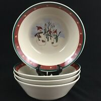 Set of 4 VTG Cereal Bowls by Royal Seasons Stoneware Snowmen RN2 Christmas
