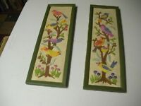A Pair Of  Framed Hand Quilted Birds On A Tree