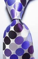 New Classic Dot White Purple Black JACQUARD WOVEN 100% Silk Men's Tie Necktie