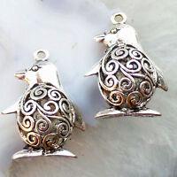 5pcs Carved Tibetan Silver The penguin Charms Pendant bead PJ011