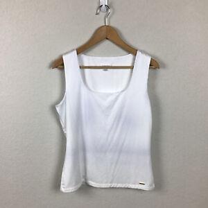Calvin Klein Tank Top L White Sleeveless Scoop Square Neck Sleep Stretch Women