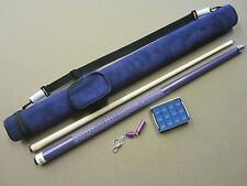 Purple Pool Cue 1x2 Case Chalk & Tip Spike Package w/ Free Shipping