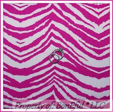 BonEful FABRIC FQ Cotton Quilt VTG Pink White Zebra Stripe Skin Baby Girl Print