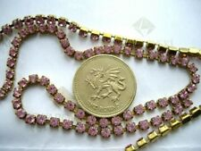 "12"" / 30cms Swarovski 12ss / 24pp Light Rose crystal goldtone cupchain / chain"