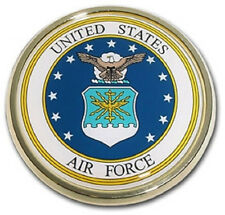 US Air Force Colored Metal Auto Emblem (NEW) United States Chrome Car Decal MVP