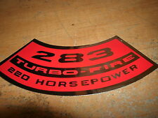 CHEVROLET 283 TURBO-FIRE TURBOFIRE 220 HORSEPOWER AIR CLEANER TOP LID DECAL NEW