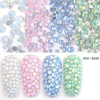 Nail Art 3D Decoration Opal Jelly Rhinestones Flat Back Color Manicure Tips