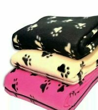 Small Soft Fleece Paw Print Car Blanket For Dogs Puppies Cats Warm Blanket