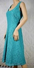 Slinky Brand Women's Dress Sleeveless Fit & Flare Lace Overlay Jade Green Sz M